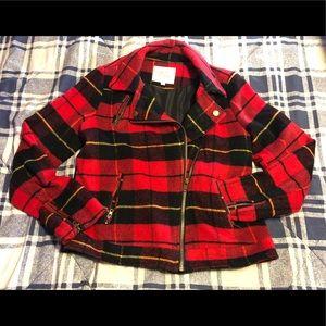 Thread & Supply Red &Black Plaid Moto Jacket